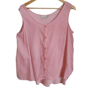 KAFFE Pink Lagenlook Button Front Sleeveless Top